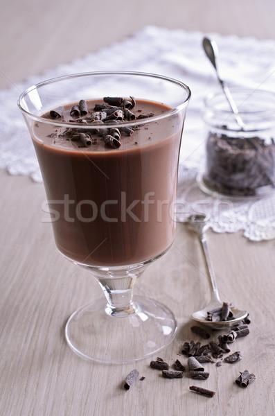 Cioccolato gelatina vetro coppa legno superficie Foto d'archivio © zia_shusha