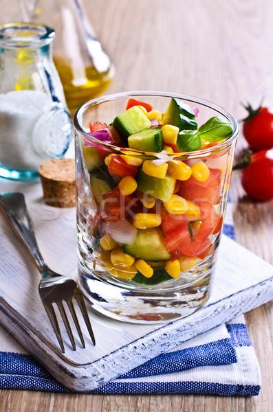 Salada vidro verão restaurante jantar Foto stock © zia_shusha
