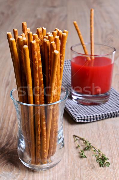 Longo em linha reta vidro proveta madeira comer Foto stock © zia_shusha