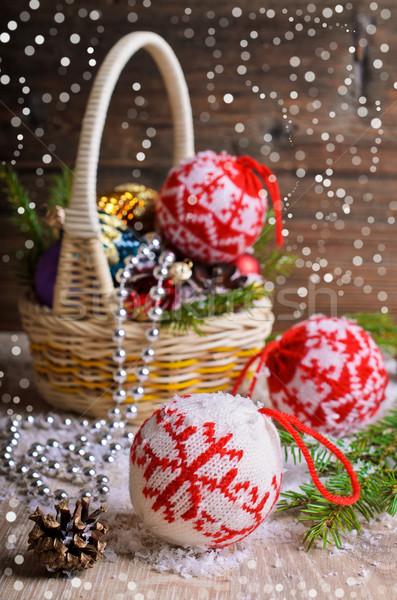 Christmas ornamenten pine bomen Stockfoto © zia_shusha
