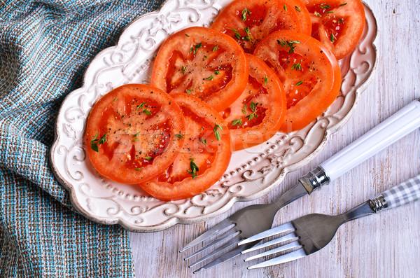 Przekąska posiekane pomidory zielone czarny pieprz puchar Zdjęcia stock © zia_shusha