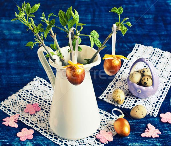 Húsvét boldog háttér zöld kék idő Stock fotó © zia_shusha