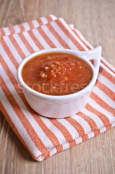 Foto d'archivio: Rosso · salsa · bianco · ceramica · ciotola · legno