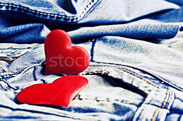 джинсовой декоративный красный сердцах текстуры Сток-фото © zia_shusha