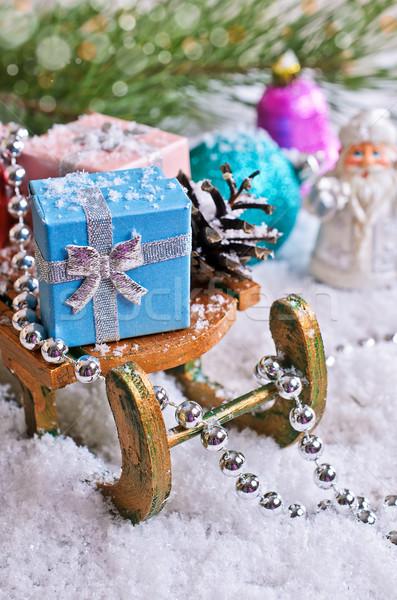 Сток-фото: Рождества · украшения · подарки · снега · дерево · древесины