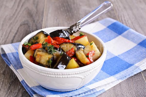 Sebze güveç dilimleri patlıcan patates Stok fotoğraf © zia_shusha