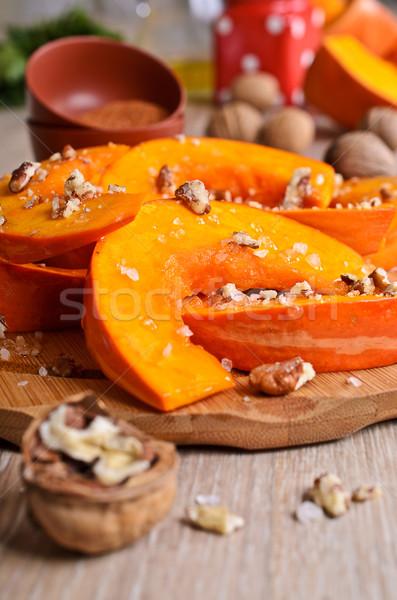 Raw slices of pumpkin Stock photo © zia_shusha