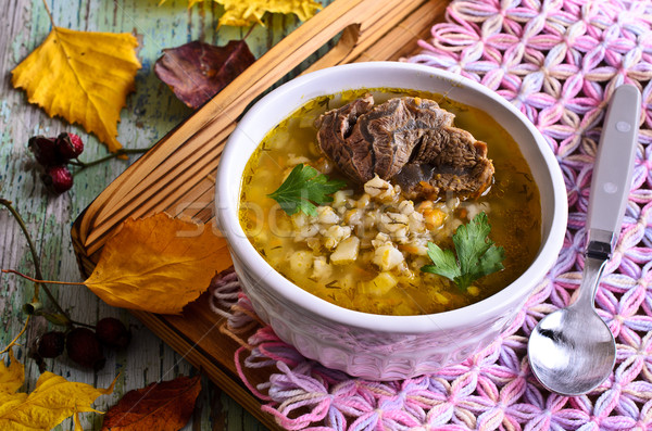 Stock photo: Soup with pearl barley and meat