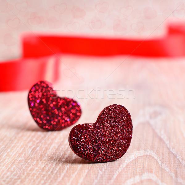 Dia dos namorados dois decorativo vermelho coração Foto stock © zia_shusha