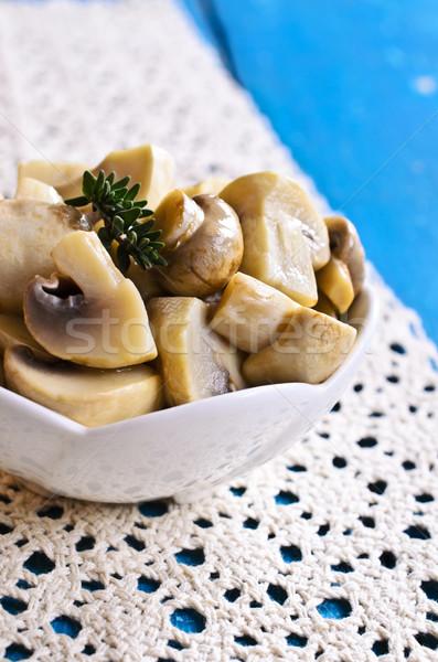Zachowane grzyby ceramiczne puchar oddziału drewna Zdjęcia stock © zia_shusha