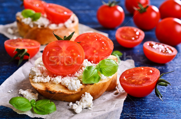 Sandwich with cheese, tomato and Basil Stock photo © zia_shusha