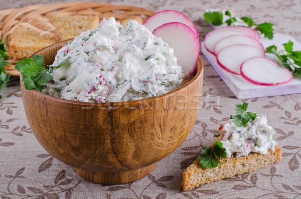 Creme queijo legumes ervas tigela Foto stock © zia_shusha