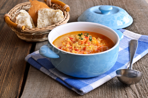 Sopa vermelho legumes cerâmico prato Foto stock © zia_shusha