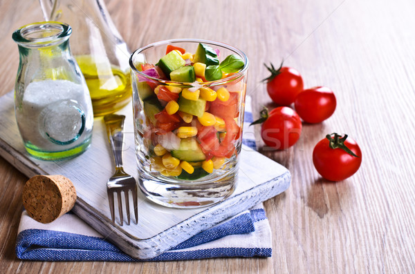 Salade glas zomer restaurant diner Stockfoto © zia_shusha