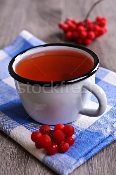 Czerwony soku płynnych emalia kubek zdrowia Zdjęcia stock © zia_shusha