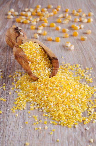 Milho cereal amarelo madeira cozinhar armazenamento Foto stock © zia_shusha