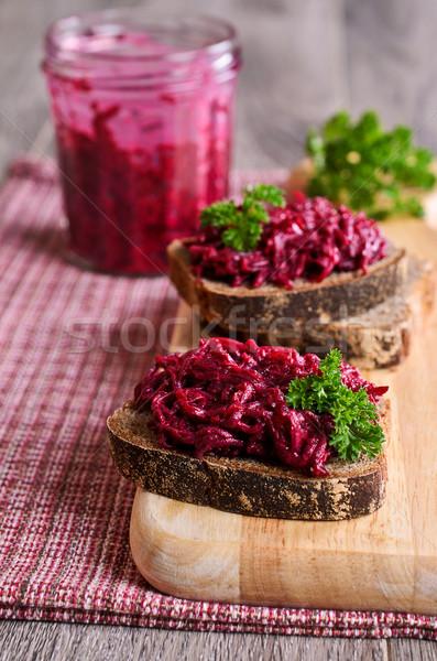 Sanduíche salsa comida vermelho café da manhã Foto stock © zia_shusha