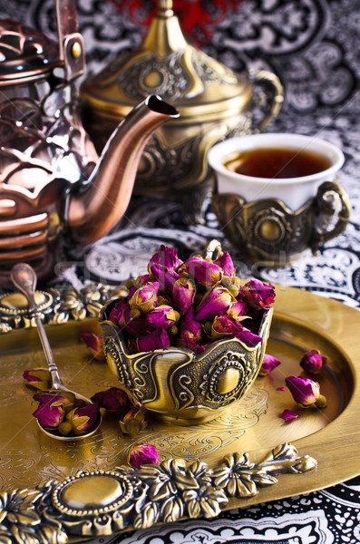 Dried rose buds in a metal Cup Stock photo © zia_shusha