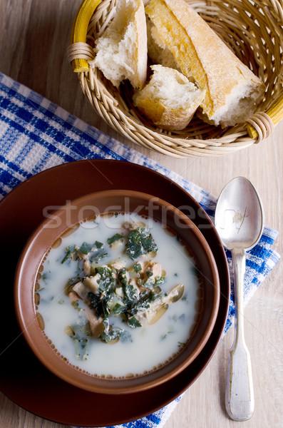 Sopa branco peixe verde leite Foto stock © zia_shusha