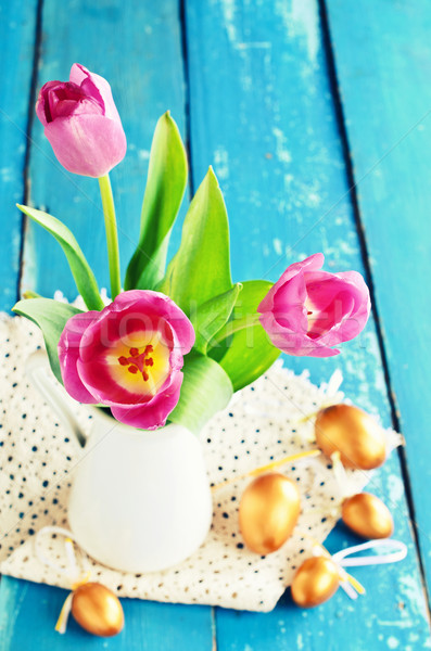 Rosa tulipanes jarrón edad azul oro Foto stock © zia_shusha