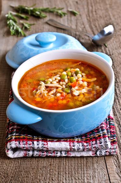 суп небольшой пасты овощей частей мяса Сток-фото © zia_shusha