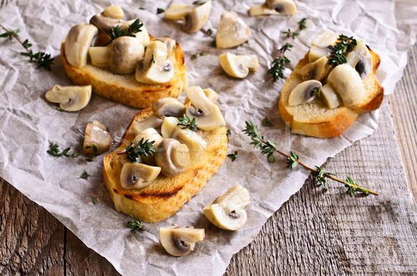 Sanduíche cogumelos superfície comida Óleo Foto stock © zia_shusha