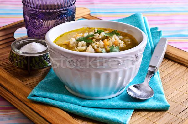 Sopa pérola cevada legumes prato comida Foto stock © zia_shusha