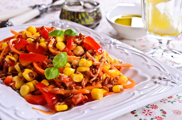 Brown rice with vegetables Stock photo © zia_shusha