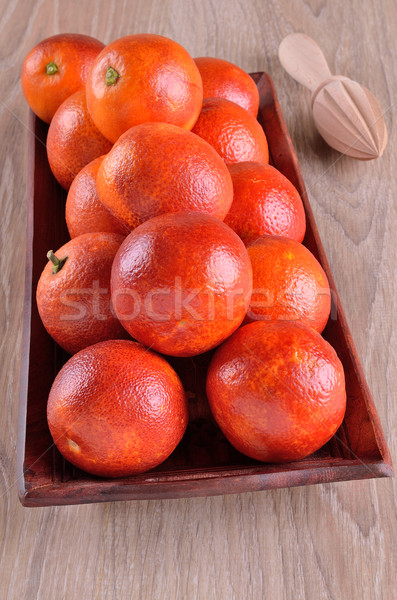 Vermelho laranja bandeja outro comida madeira Foto stock © zia_shusha