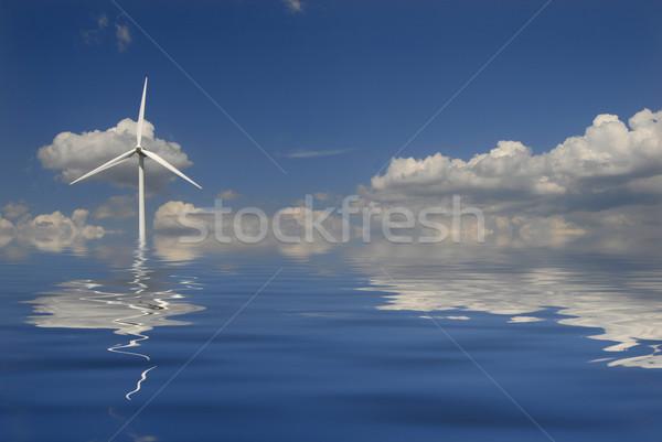 Poder moderno branco turbina eólica vento moinho Foto stock © zittto