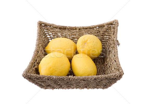 Sepet limon yalıtılmış beyaz mutfak pazar Stok fotoğraf © zittto