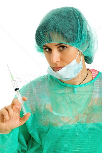 ストックフォト: 看護 · 若い女性 · 肖像 · シリンジ · 少女 · 健康