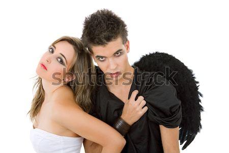 Angyalok tini pár játszik család lány Stock fotó © zittto