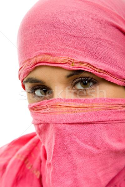 Fiatal nő fátyol közelkép portré stúdió kép Stock fotó © zittto