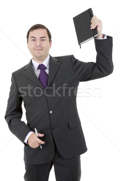 Adam kitap mutlu işadamı beyaz finanse Stok fotoğraf © zittto
