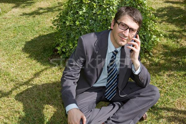 Adam telefon mutlu işadamı açık konuşma Stok fotoğraf © zittto