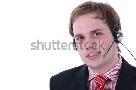 Połączenia call center człowiek portret biały działalności Zdjęcia stock © zittto