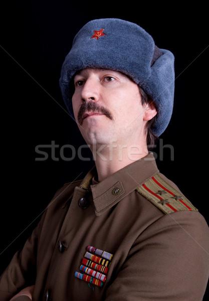 Foto stock: Russo · moço · militar · estúdio · retrato · preto