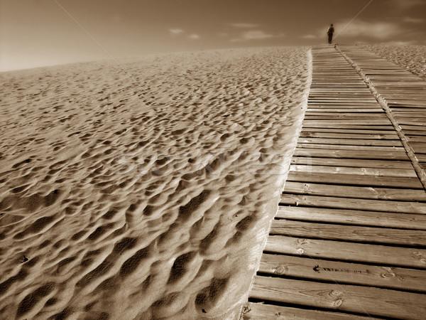 Homem duna fundo areia vida liberdade Foto stock © zittto