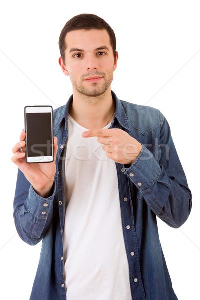 Telefon genç gündelik mutlu adam yalıtılmış Stok fotoğraf © zittto