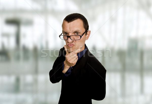 Stock fotó: Eltorzult · fiatal · üzletember · iroda · szemek · üzletember