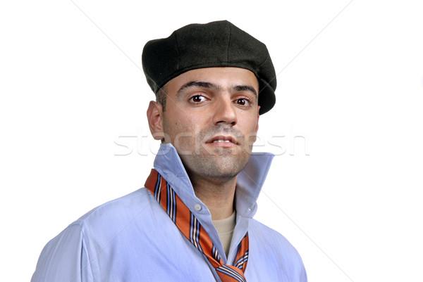 Сток-фото: человека · случайный · портрет · Hat · белый · моде