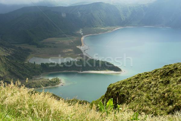 Tó tűz sziget víz Föld kék Stock fotó © zittto