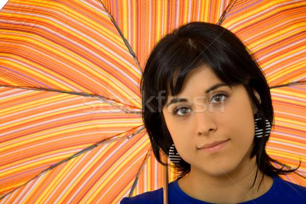 şemsiye genç esmer kız renkler kadın Stok fotoğraf © zittto