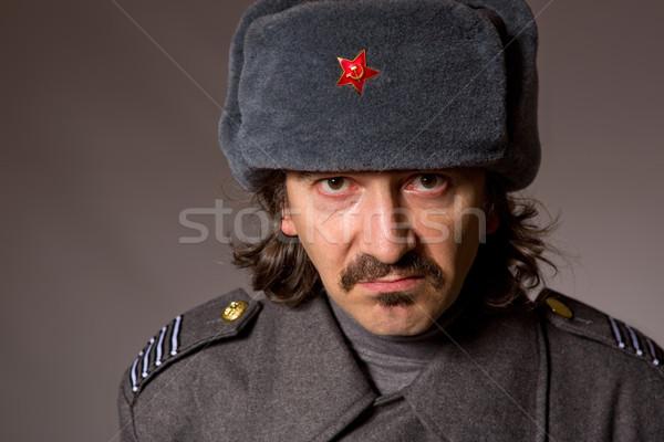 Russo militar moço estúdio quadro vermelho Foto stock © zittto