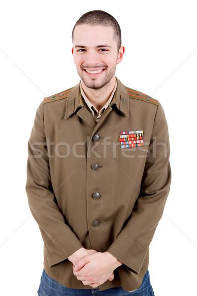 Foto d'archivio: Russo · giovane · militari · studio · ritratto · nero
