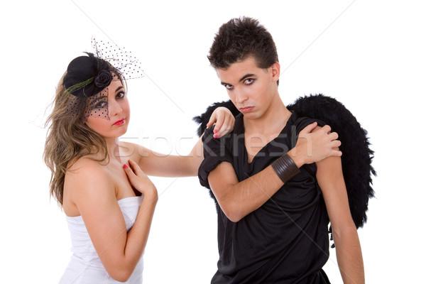 Engelen teen paar spelen familie meisje Stockfoto © zittto