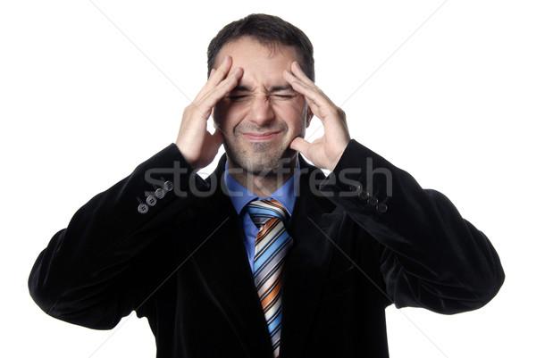 Dor de cabeça empresário terno gestos negócio mão Foto stock © zittto