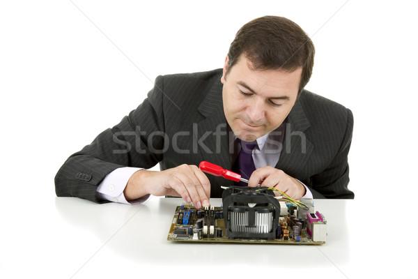 Placa-mãe computador engenheiro trabalhando isolado negócio Foto stock © zittto
