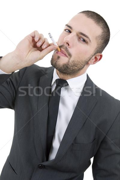 Dohányos üzletember dohányzás izolált fehér üzlet Stock fotó © zittto